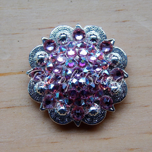 Shiny Silver Round Berry Concho - Lt. Rose & Lt. Rose AB