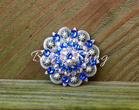 Antique Silver Round Berry Concho - Sapphire & Crystal AB