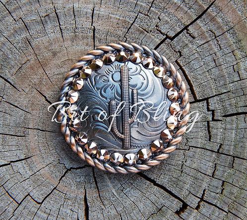 Copper Round Rope Edge Cactus Concho - Rose Gold