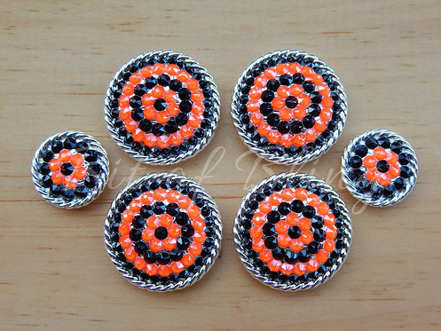 Shiny Silver Round Rope Edge Saddle Set - Jet & Electric Orange