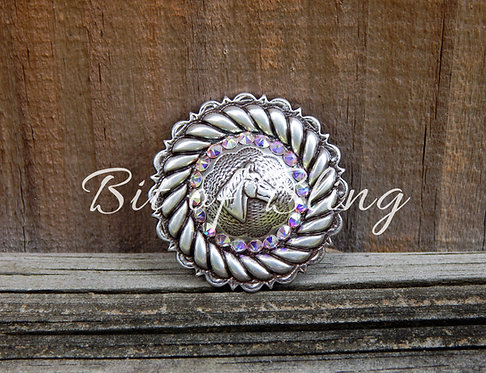 Antique Silver Round Rope Edge Horse Head Concho - Crystal AB