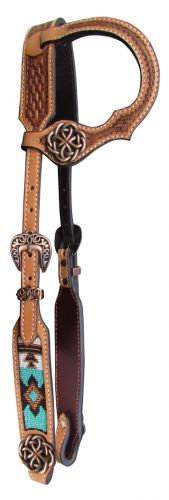 Beaded One Ear Leather Headstall with Knot Conchos