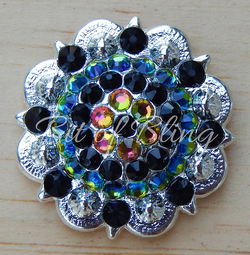 Shiny Silver Round Berry Concho - Jet & Vitrail Medium