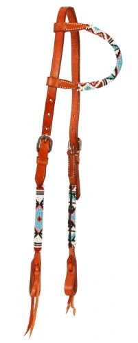 Beaded Leather One Ear Headstall #74061