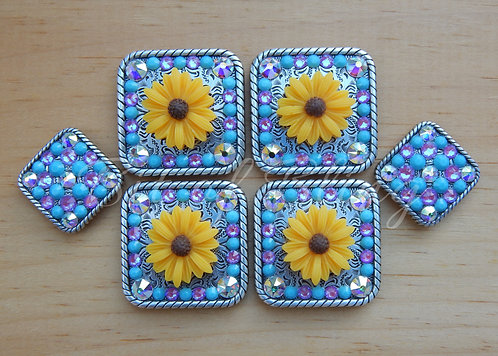 Yellow Daisy Saddle Set - Turquoise, Crystal AB, Electric Violet Delite