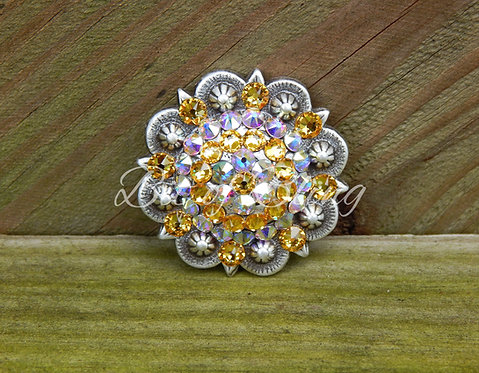 Antique Silver Round Berry Concho - Light Topaz & Crystal AB