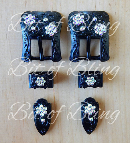Black Western Buckle Sets with Tips - Crystal AB