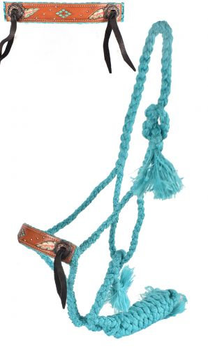 Teal Feather Mule Tape Bronc Halter w/ Lead