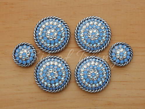 Antique Silver Round Rope Edge Saddle Set - Air Blue Opal & Moonlight