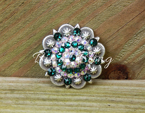 Antique Silver Round Berry Concho - Emerald & Crystal AB