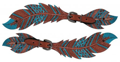 Teal Feather Spur Straps