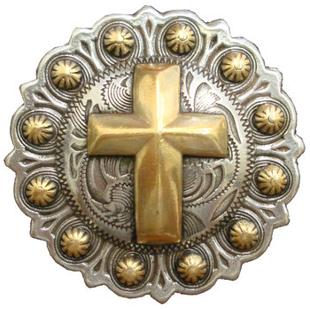 Antique Silver & Gold Round Berry Cross Concho
