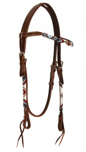 Beaded Leather Browband Headstall #74064