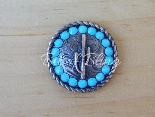 Copper Round Rope Edge Cactus Concho - Turquoise