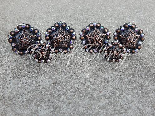 Copper Floral Pentagon Berry Saddle Set - Crystal AB