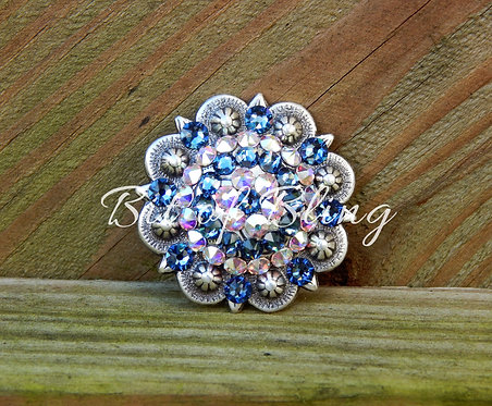 Antique Silver Round Berry Concho - Denim Blue & Crystal AB