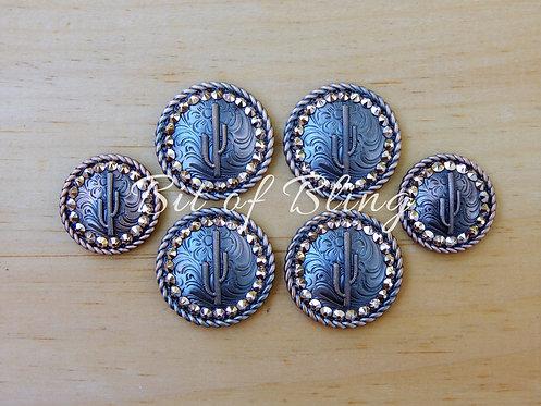 Copper Round Rope Edge Cactus Saddle Set - Rose Gold