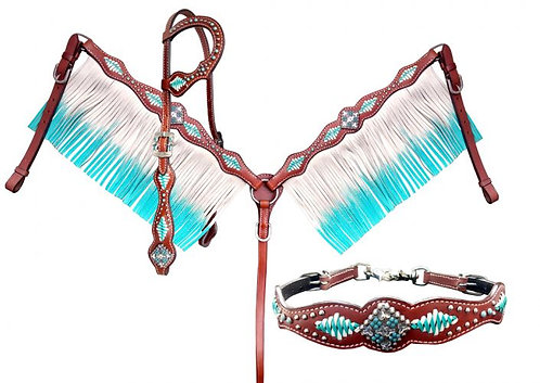 4pc Turquoise & White Laced Fringe Tack Set