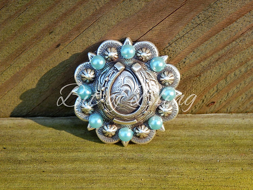 Antique Silver Round Berry Horseshoe Concho - Light Turquoise Pearls
