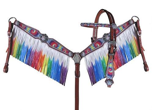 Rainbow Tie Dye Fringe Tack Set