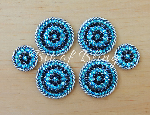 Antique Silver Round Rope Edge Saddle Set - Jet & Blue Zircon
