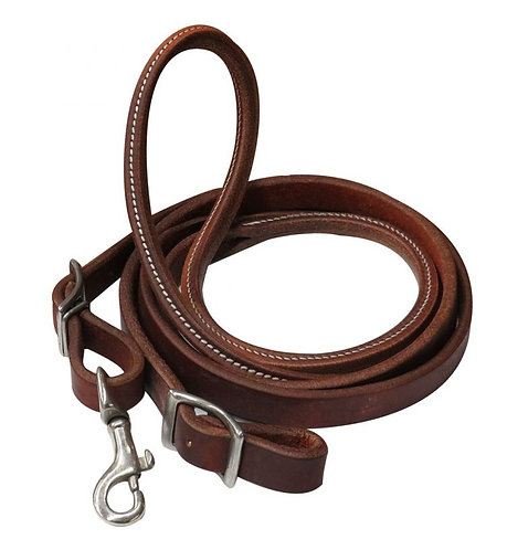 7' Oiled Harness Leather Contest Rein w/ Rolled Center