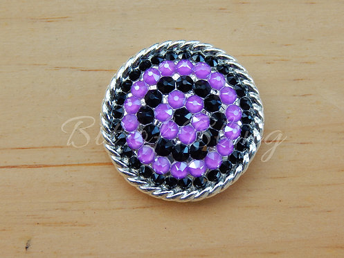Shiny Silver Round Rope Edge Concho - Jet & Electric Violet
