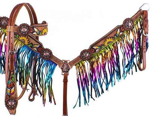 Cactus Feather Sunflower Rainbow Fringe Tack Set