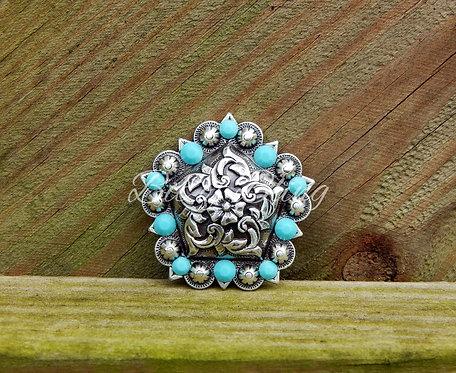 Antique Silver Floral Pentagon Berry Concho - Turquoise