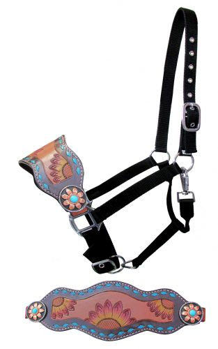 Copper & Turquoise Sunflower Bronc Halter