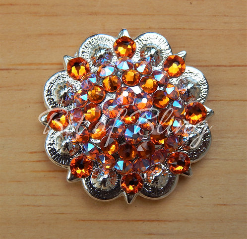 Shiny Silver Round Berry Concho - Tangerine & Tangerine Shimmer