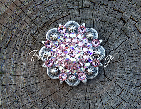 Antique Silver Round Berry Concho - Light Rose & Crystal AB