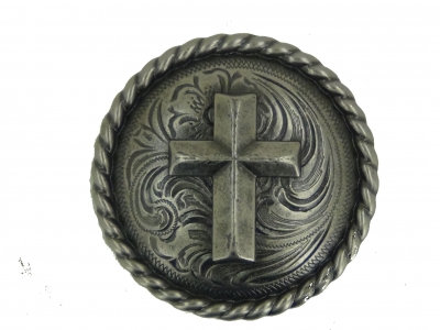 Old Silver Round Rope Edge Cross Concho