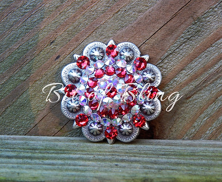 Antique Silver Round Berry Concho - Scarlet & Crystal AB
