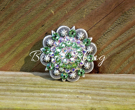 Antique Silver Round Berry Concho - Peridot & Crystal AB