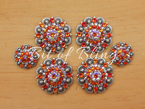 Antique Silver Round Berry Saddle Set - Fire Opal & Crystal AB