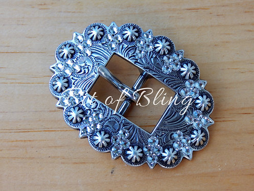 Antique Silver Berry Cart Buckle - Crystal