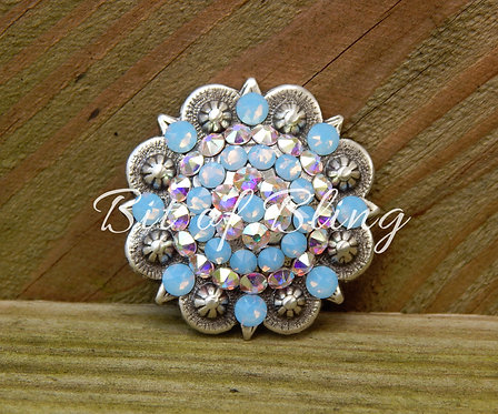 Antique Silver Round Berry Concho - Air Blue Opal & Crystal AB