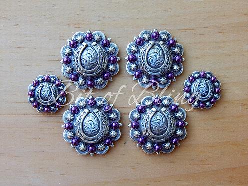 Antique Silver Round Berry Horseshoe Saddle Concho Set - Amethyst Pearls