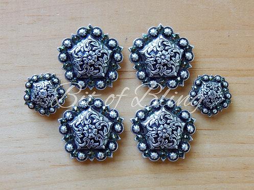 Antique Silver Floral Pentagon Berry Saddle Concho Set - Erinite