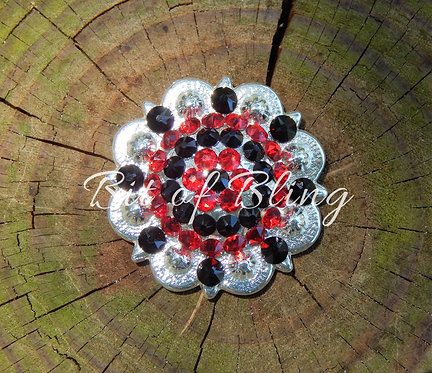 Shiny Silver Round Berry Concho - Lt. Siam & Jet
