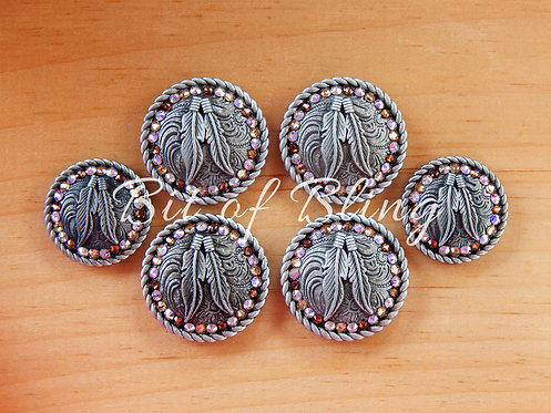 Antique Silver Round Rope Edge Feathers Saddle Concho Set - LCT, CAB, ST