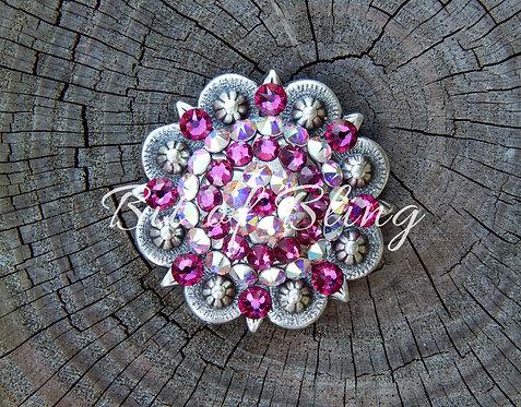 Antique Silver Round Berry Concho - Fuchsia & Crystal AB
