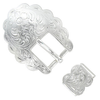 Shiny Silver Scalloped 2pc Buckle