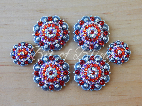 Antique Silver Round Berry Saddle Concho Set - Hyacinth & Crystal AB