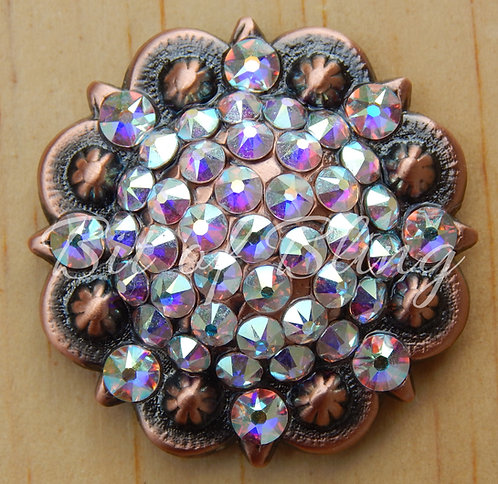 Copper Round Berry Concho - Crystal AB