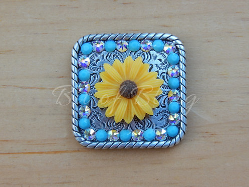 Yellow Daisy Concho - Turquoise & Crystal AB
