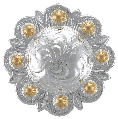 Shiny Silver & Gold Round Berry Concho