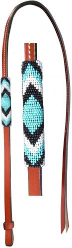 Beaded Leather Over & Under Whip, Teal/Black/White
