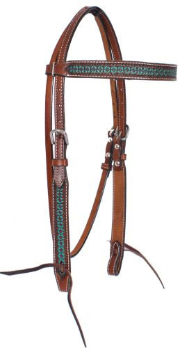 Turquoise Tooled Leather Browband Headstall